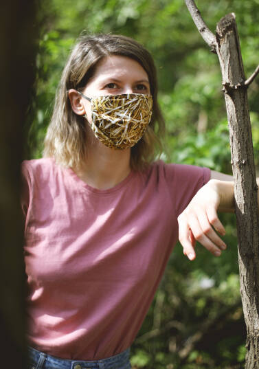 Safety face mask / 100% cotton - STRAW